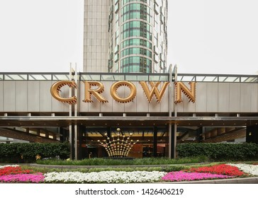MELBOURNE, AUSTRALIA - JANUARY: Melbourne's Crown Casino Towers, part of the Crown Melbourne casino and entertainment complex as seen on January 17, 2019