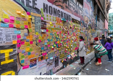 Melbourne, Australia - Jul 27, 2019: Visitors at the Lennon Wall in Melbourne CBD. This wall is similar to the one in Hong Kong which was created in the protest against the HK government.