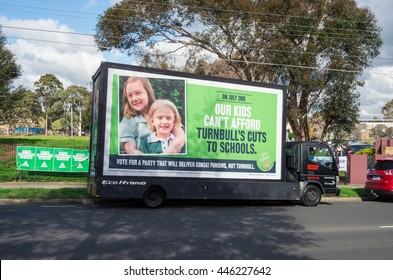 Melbourne, Australia - July 2, 2016: a mobile billboard of the Australian Education Union in support of Gonski education funding outside a polling station in Deakin on federal election day.