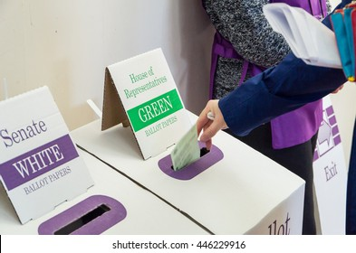 Melbourne, Australia - July 2, 2016: a voter casting a House of Representatives ballot paper in the federal election.