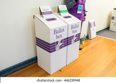 Melbourne, Australia - July 2, 2016: ballot boxes inside a polling place at Mullauna College, MItcham in the electorate of Deakin on federal election day.