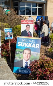 Melbourne, Australia - July 2, 2016: posters of Liberal Party MP Michael Sukkar and the Australian Labor Party challenger Tony Clark in the electorate of Deakin on federal election day.