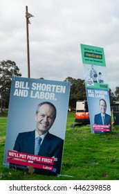 Melbourne, Australia - July 2, 2016: Australian Labor Party posters featuring opposition leader Bill Shorten at the Mullauna College polling place in the electorate of Deakin on federal election day.