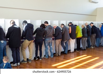 Melbourne, Australia - July 2, 2016: voters inside a polling booth in suburban Mitcham in Melbourne on the 2016 federal election date.