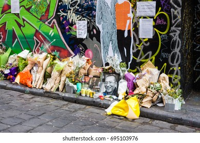 MELBOURNE, AUSTRALIA - July 2017: a tribute in Hosier Lane to Chinese activist Liu Xiaobo, who passed away July 2017.