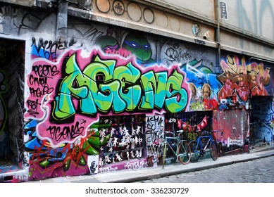 MELBOURNE, AUSTRALIA, July 21 2015: Colorful street art by unidentified artist in a Melbourne laneway