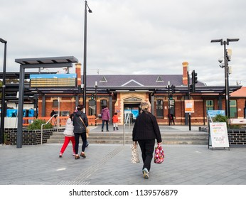Melbourne, Australia - July 21, 2018: Ringwood Railway Station is an outer suburban station in the Melbourne Metro network. It was rebuilt in 2016 as a modern premium station.