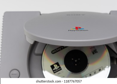 Melbourne, Australia - July 23rd 2018: Game Disk Sits in Sony's Original PlayStation Console