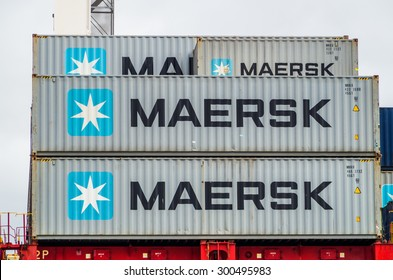Melbourne, Australia - July 25, 2015: Maersk is one of the world's largest shipping, cargo and energy companies. These Maersk shipping containers are stacked at the Port of Melbourne.