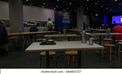 MELBOURNE, AUSTRALIA - JULY 25, 2019: inside the National Gallery of Victoria. Australia's most visited art museum. The cafe is central to the book shop, ticket booth and access to the main gallery