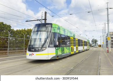 Melbourne, Australia - July 26, 2015: A E-Class tram in a city depot waiting to depart in Melbourne. This three section articulated low-floor tram was introduced in Melbourne in 2013.
