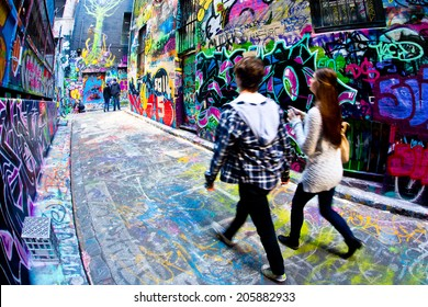 MELBOURNE, AUSTRALIA - JULY 3 2014: Street art by unidentified artist. Melbourne's graffiti management plan recognises the importance of street art in a vibrant urban culture