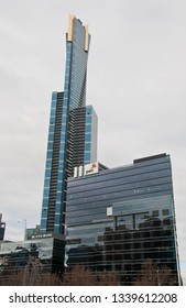MELBOURNE, AUSTRALIA - JULY 30, 2018: Eureka tall tower with PwC Melbourne headquarter office buildign in the front