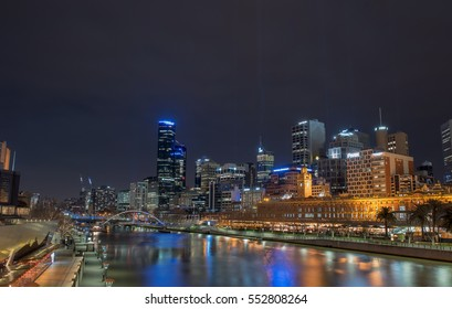 Melbourne, Australia - July 31, 2015: View of Melbourne skyline and Yarra River at Night time in Victoria, Melbourne, Australia.