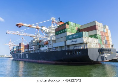 Melbourne, Australia - July 31, 2016: Containers to be unloaded in a container ship berthed at Swanson Dock in the Port of Melbourne that handles more than one third of Australia's container trade.