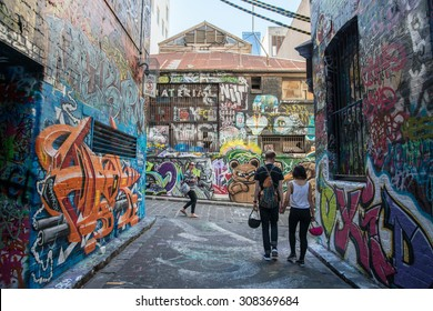 Melbourne, AUSTRALIA - JULY 5 2015: Hosier lane the street art of Melbourne, Victoria, Australia.