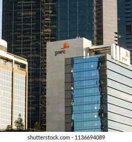 Melbourne, Australia - July 6th 2018: PwC Logo on Southbank Building
