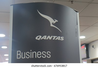MELBOURNE AUSTRALIA - JULY 8, 2017: Qantas business class check in sign at Melbourne airport.