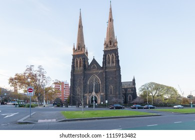 Melbourne, Australia - June 15, 2018: St. Patrick's Roman Catholic Cathedral in Melbourne, Victoria, Australia. One of popular place for tourists.