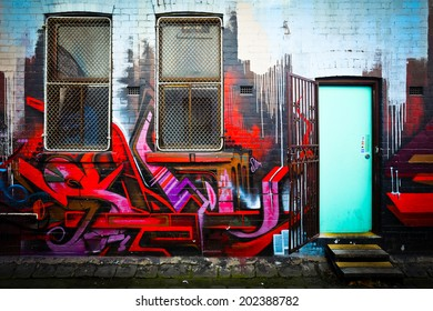 MELBOURNE, AUSTRALIA - JUNE 28 2014: Street art by unidentified artist. Melbourne's graffiti management plan recognizes the importance of street art in a vibrant urban culture