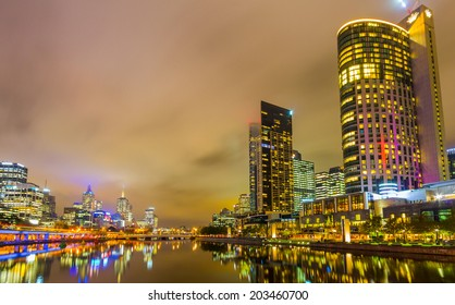 MELBOURNE, AUSTRALIA- JUNE 3, 2014: Yarra River and Melbourne skyline. Melbourne is the capital and most populous city in the state of Victoria, and the second most populous city in Australia.