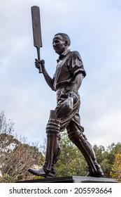 MELBOURNE, AUSTRALIA- JUNE 3, 2014: The statue of Sir Donald Bradman, an Australian cricket player at Melbourne Cricket Ground in Australia.