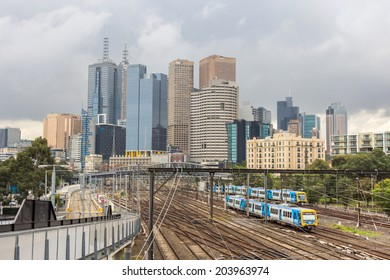 MELBOURNE, AUSTRALIA- JUNE 5, 2014: Melbourne skyline with metro lines. Melbourne is the capital and most populous city in the state of Victoria, and the second most populous city in Australia.