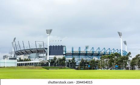 MELBOURNE, AUSTRALIA - JUNE 5, 2014: The Melbourne Cricket Ground in Victoria, Australia. The MCG is the largest sports stadium in Australia.