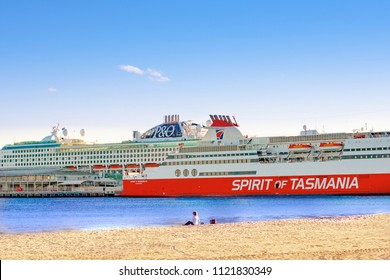 Melbourne, Australia - June 6 2018: The transatlantic liner and the ferry are on the berth for loading. Melbourne, Australia