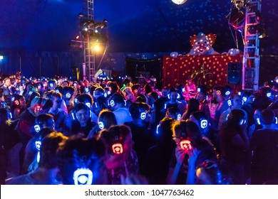 Melbourne, Australia - Mar 13, 2016: Silent disco at the annual Moomba festival