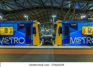 MELBOURNE, AUSTRALIA - MAR 17: Metro Trains Melbourne at Southern Cross station on Mar 17, 2015 in Melbourne. It is the franchise operator of the suburban railway network of Melbourne, Australia.