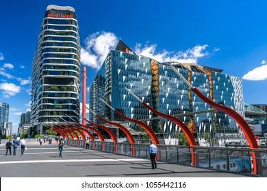 Melbourne, Australia - Mar 19, 2018: NAB and Medibank buildings in Docklands