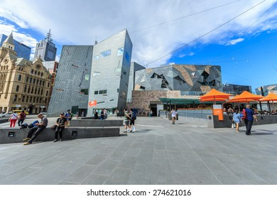 MELBOURNE, AUSTRALIA - MAR 19: Federation Square on Mar 19, 2015 in Melbourne. It is a mixed-use development in the inner city of Melbourne, covering an area of 3.2 hectares.