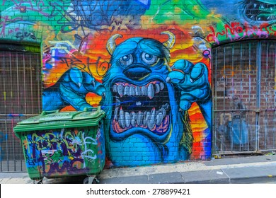 MELBOURNE, AUSTRALIA - MAR 19: Monster Graffiti at Hosier Lane on Mar 19, 2015 in Melbourne. It's one of the tourist attraction which is the ever-changing graffiti on the walls of Hosier Lane.