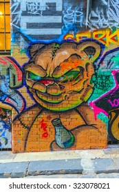 MELBOURNE, AUSTRALIA - MAR 19: Monster bear Graffiti at Hosier Lane on Mar 19, 2015 in Melbourne. It's one of the tourist attraction which is the ever-changing graffiti on the walls of Hosier Lane.