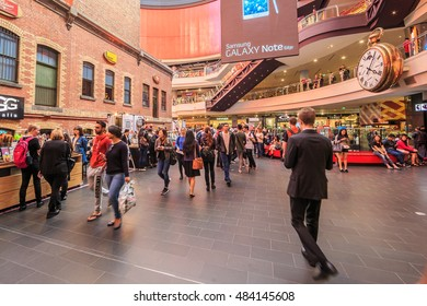 MELBOURNE, AUSTRALIA - MAR 20: Interior of Melbourne Central Shopping Centre on Mar 20, 2015 in Melbourne. It's a large shopping centre, office, and public transport hub in the city of Melbourne.