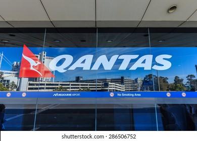 MELBOURNE, AUSTRALIA - MAR 22: Qantas logo at Melbourne International Airport on Mar 22, 2015 in Melbourne. Qantas is Australia's largest airline.