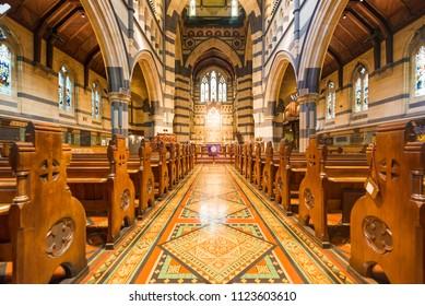 MELBOURNE, AUSTRALIA - MARCH 05, 2018: Interior design of St. Paul's Cathedral, St. Paul's Cathedral is a cathedral church of the Anglican Diocese of Melbourne, Victoria in Australia.