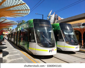 Melbourne, Australia: March 07, 2017: Two trams waiting at St Kilda terminal. The public transport system runs through all local suburbs in Melbourne.