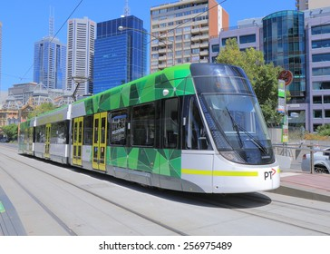MELBOURNE AUSTRALIA - MARCH 1, 2015: Melbourne modern tram. Modern tram runs in Melbourne city cetre. Melbourne has the largest urban tramway network in the world ahead of St Petersburg.