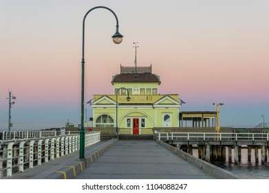 Melbourne, Australia - March 10, 2018: St Kilda Pavilion at the end of St Kilda Pier was originally built in 1904 and reconstructed in 2006 after a fire.