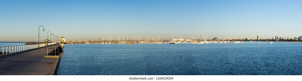 Melbourne, Australia - March 10, 2018: St Kilda Pier in the inner bayside suburb of St Kilda was built in 1853. It is popular with boaters and anglers.