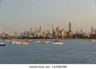 Melbourne, Australia - March 10, 2018: Sailing yachts moored in Port Phillip Bay off St Kilda in Melbourne, Australia.