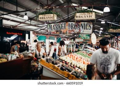 MELBOURNE, AUSTRALIA - March, 11 2017: Queen Victoria market organics in the city centre of Melbourne, Australia.