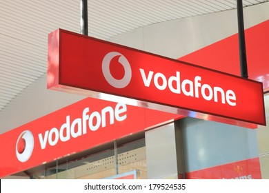 MELBOURNE AUSTRALIA - March 1,2014: Logo of Vodafone - Vodafone is a British multinational telecommunications company and is the world's third-largest mobile telecommunications company.