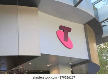 MELBOURNE AUSTRALIA - March 1,2014: Logo of Telstra - Telstra is the largest telecommunications and media company in Australia.
