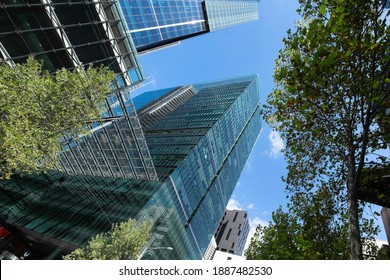 MELBOURNE AUSTRALIA - MARCH 12,2018: Modern glass office of Australia Post Building in Melbourne - Australia Post provides postal services in Australia