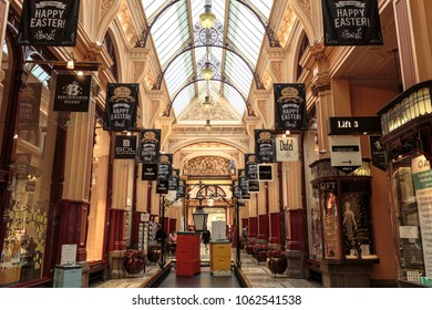 MELBOURNE, AUSTRALIA – March 15, 2018:  View of the most beautiful and elegant The Block Arcade, in Melbourne, Victoria, Australia