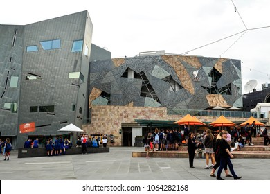 MELBOURNE, AUSTRALIA – March 15, 2018:  View of the Federation Square, a purpose built venue for arts, culture and public events