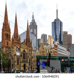 MELBOURNE, AUSTRALIA – March 15, 2018:  View of the Anglican St Paul Cathedral and part of the Central Business District